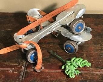 Vintage Roller Skates from the 1950's - Adjustable Strap-On Metal Roller Skates - Vintage Decorative Metal Roller Skates Display -