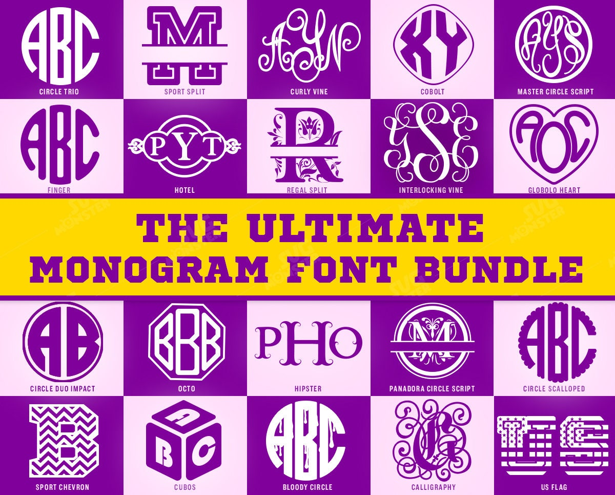 Download Monogram Font Bundle SVG Cricut fonts DXF Fonts Bundle pack