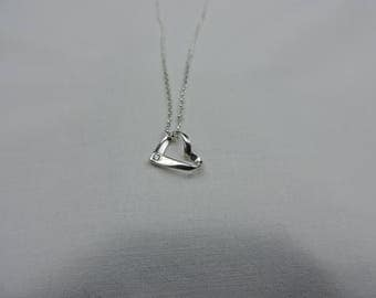 Sterling Silver Ribbon Heart Pendant