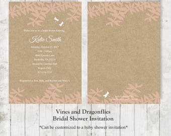 Printed Vines and Dragonflies Bridal/Baby Shower Invitations w/Envelopes, Premium Card Stock, 5x7, Commercial Quality & Affordable!