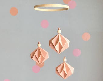 Baby Mobile - Peach & Dots