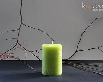 "Handmade Large Pillar Rustic Candles Green Yellow 85x120mm (3.34 x 4.72"")"