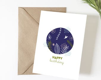 Birthday card, Happy birthday card greeting, illustration, vegetable, tropical, happy birthday, exotic, flowers, summer