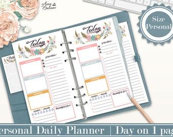 Personal Daily Planner Inserts, Personal Planner Inserts, Printable Planner Inserts, Day on 1 page, DO1P, Filofax Personal, Kikki k Medium