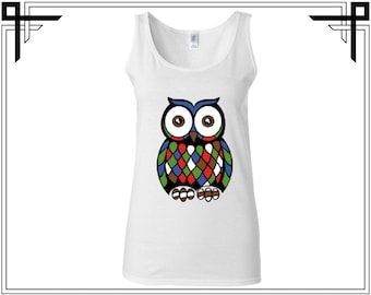 Abstract Owl Tank Owl Tank Top Colorful Owl Tank Owl Tank Animal Tank Top Women Tank Ladies Tank Softstyle Tank Gift For Her
