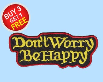 Be Happy Patches Iron On Embroidered Patches Embroidered Applique