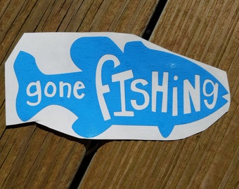 Blue Gone Fishing Vinyl Decal