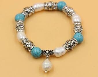 Pearl turquoise bracelet, white pearl bracelet, turquoise bracelet, freshwater pearl jewelry, pearl drop bracelet, mother daughter bracelet