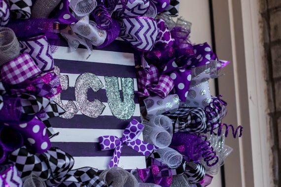 TCU Wreath Texas Christian University Horned Frogs College Alumni Tcu Graduation Deco Mesh For Front Door