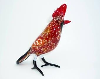 Bird Northern Cardinal Glass Figurine, Glass Miniature, Collectibles, Glass Sculpture, Glass Figurine, Glass Animal, Art Glass, Gift
