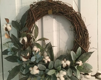 Modern FARMHOUSE COTTON half-wreath