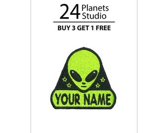 "Mini Alien ""Your Name"" Iron on Patch by 24PlanetsStudio"