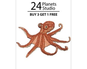 Octopus Iron on Patch by 24PlanetsStudio
