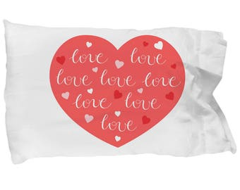 Love Hearts Pillowcase I Love You Heart Bedding Gift Decoration Valentine's Day Marry Me Bridal Shower Wedding