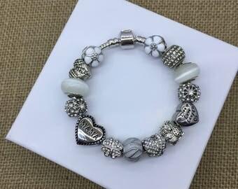 White cateye MAMA live love laugh titanium steel charm bracelet european mom theme charm bracelet pandora style bracelet
