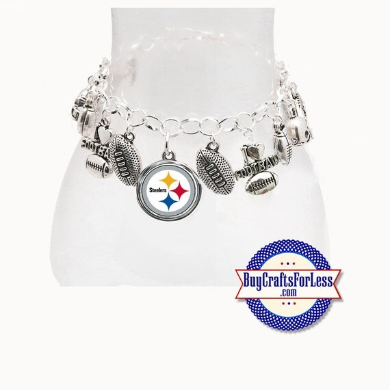 PITTSBURGH Football Silver Plated CHARM Bracelet  **FREE U.S. SHiPPiNG**