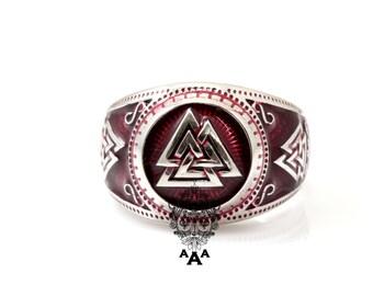 Valknut Viking Signet Ring, Silver Valknut Viking Ring Red Enamel, Sterling Silver 925