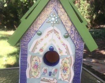 Metallic Blue and Green Birdhouse