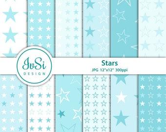 Baby blue digital paper, stars background, stars digital paper, baby shower digital paper, weddings stars scrapbook
