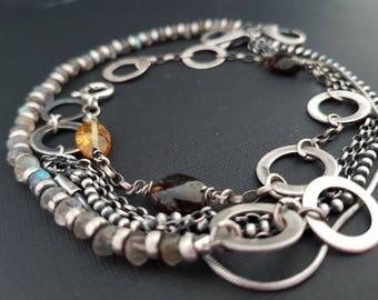 Baltic Amber Labradorite 925 Sterling Silver Chains & Rings -bracelet