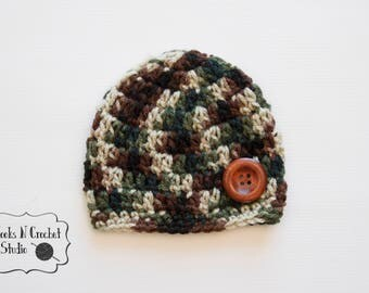 newborn crochet hat, newborn boy hat, newborn crochet, newborn boy beanie, newborn camo hat, baby came. hat, crochet camo hat