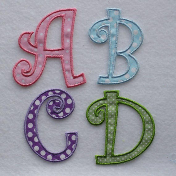Iron on letters curly alphabet 3 inch letter embroidered for Embroidered alphabet letters