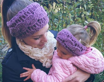 Mum and daughter matching crochet earwarmers, headbands