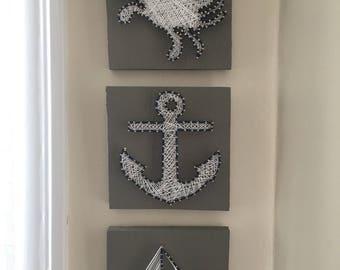 Nautical Home Decor Bathroom Decor Wall Art String Art