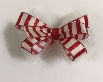Candy Cane Glitter Hair Bow