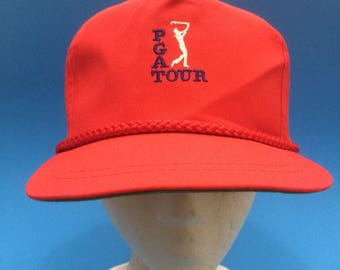 Vintage PGA Tour Trucker SnapBack Hat Adjustable 1980s Leather Strapback