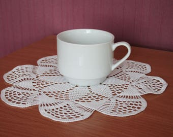 Large crochet doily 27 cm in White crochet doilies lace handmade doily white round cotton doily decor hand crocheted doily chic doily