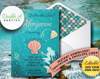 Mermaid Birthday Invitation - Under the Sea Birthday Invitation, Fantasy, Underwater, Self-Editable Invitation, Girl Birthday Party