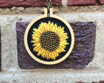 Embroidered Sunflower Necklace