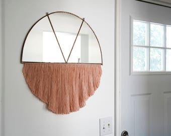Large Half Circle Mirror in Copper Patina with Pink Fiber Fringe and Brass Rod