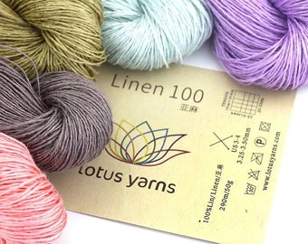 Lot 5~10 skeins LINEN 100 colored handknitting yarn, 20 colors