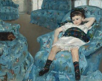 Mary Cassatt : Little Girl in a Blue Armchair (1878) Canvas Gallery Wrapped Wall Art Print