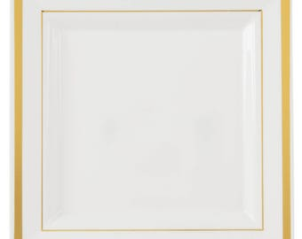 "100PCS  7.25"" Gold Square Border White Plastic Plate, Wedding Supplies, Wedding, Wedding Decor, Party Supplies, Plastic Plates"