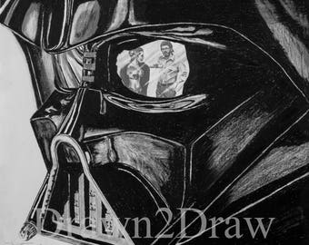 Darth Vader Star Wars Pencil Drawing Print Birthday Christmas Gift