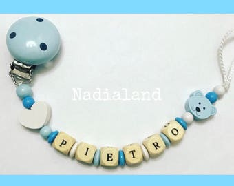 Pacifier holder with baby name / Baby boy/ Natural wood/ Dummy clip/ Handmade/ Beaded pacifier clip/ Personalized pacifier holder/ Baby gift