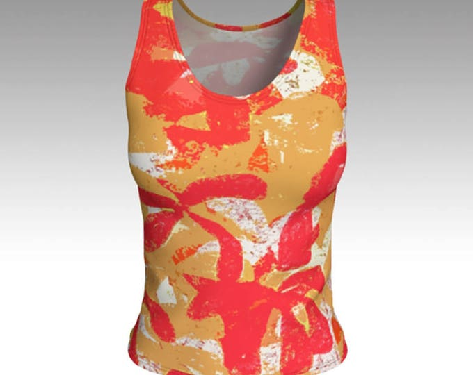 Tank Tops, Tropical Flower Tank Top, Red and Gold Tank Top, Women's Tops, Tops, Swim Tank, Athletic Top, Yoga Top, Exercise Top, Gift