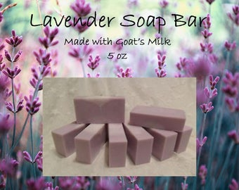 Lavender Goat's Milk Soap Bar 5 oz; Goat's Milk; Lavender Soap Bar; Skin Care; Spa; Fine Skin Care