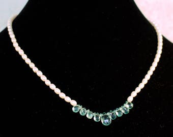 Aqua Apatite and Fresh Water Pearl Necklace.