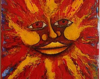 SunSplatz Alpha #5 Original acrylic sun face painting.