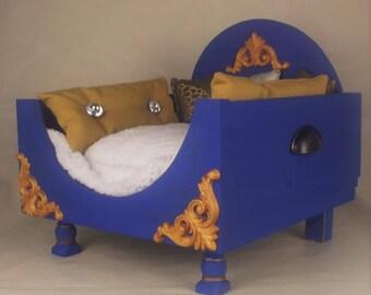 Dog bed Chihuahua posh navy blue gold xtra small
