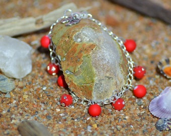 Bracelet with Rhinestone beads and neon red beads