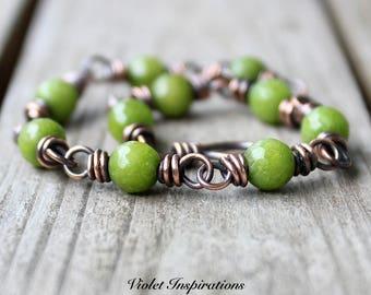 Green (dyed) Quartz Bracelet / Wire Wrapped Bracelet / Wire Wrapped Jewelry / Copper Bracelet / Beaded Bracelet / Copper Jewelry