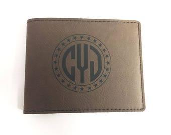 Personalized Monogram Wallet - Gift for Him - Engraved Wallet - Gift for Groomsmen - Gift for Bridal Party - Groomsmen Gift