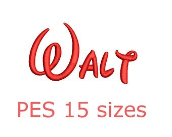 Walt embroidery font PES format 15 Sizes instant download