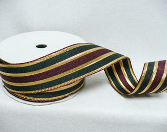 "Woven stripes multi color wired ribbon, size 1.5"" x 10 yards"