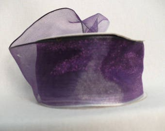 "Dark purple ombre sheer wired, ombre sheer wired ribbon 1.5"" x 10 yards"